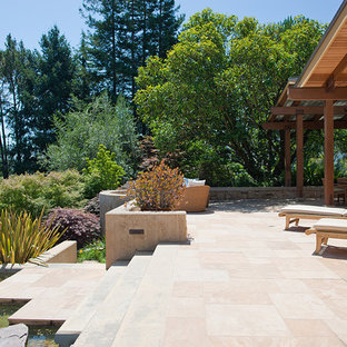 Inspiration for a mid-sized contemporary backyard patio fountain remodel in San Francisco with no cover