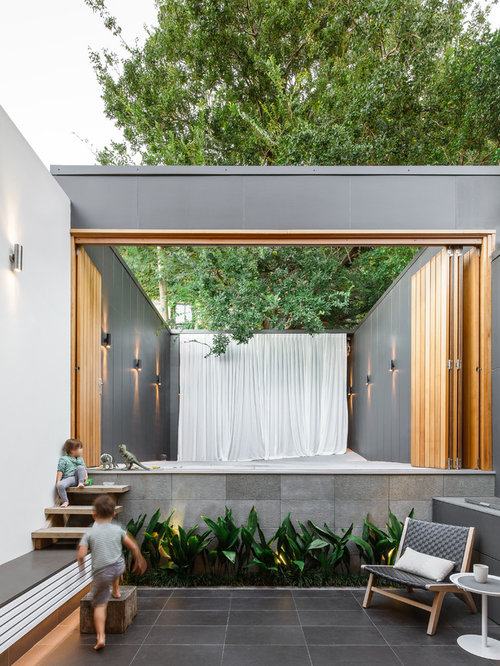 Example Of A Mid Sized Trendy Backyard Patio Design In Sydney With A  Container Garden Home Design Ideas