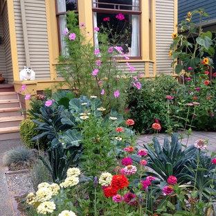 Ispirazione per un patio o portico eclettico di medie dimensioni e davanti casa con lastre di cemento e nessuna copertura