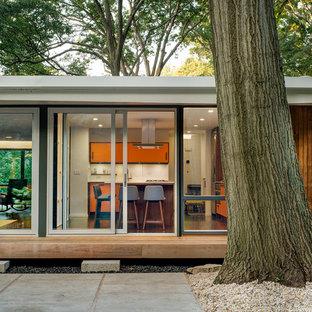 Immagine di un patio o portico moderno di medie dimensioni e dietro casa con lastre di cemento e nessuna copertura