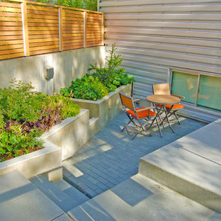 Example of a trendy concrete paver patio design in Seattle with no cover