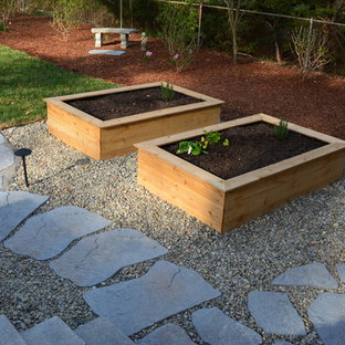 Photo of a mid-sized eclectic backyard patio in Richmond with a vegetable garden, concrete pavers and no cover.