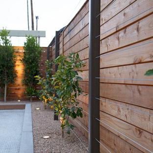 Esempio di un grande patio o portico minimalista dietro casa con lastre di cemento e una pergola