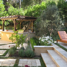 Mediterranean Patio by D'Urso Landscape Design