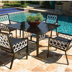 Aluminum Outdoor Dining Table and Chair Set - Aluminum outdoor dining table and chair set in contemporary black and white colors.