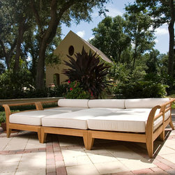 Aman Dais 6 pc Teak Day Bed - Westminster Teak Furniture - The full-size daybed is configured out of the 3 distinct modular pieces from the Aman Dais Collection. The beautifully yet highly functional set would quickly become the focal point in any outdoor space; be it your loggia, deck or poolside. The six pieces can quickly be reconfigured to suit the need or occasion. Exclusively designed for Westminster, the Aman Dais Collection is the epitome of casual luxury. Its distinctive sweeping lines and architecturally low profile frame will gracefully integrate into any setting or space, both indoors and out. Built to contract quality specifications.