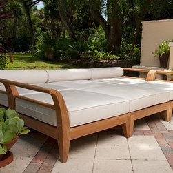 Aman Dais Teak Patio Daybed - The full-size daybed is configured out of the 3 distinct modular pieces from the Aman Dais Collection. The beautifully yet highly functional set would quickly become the focal point in any outdoor space; be it your loggia, deck or poolside. The six pieces can quickly be reconfigured to suit the need or occasion. Exclusively designed for Westminster, the Aman Dais Collection is the epitome of casual luxury. Its distinctive sweeping lines and architecturally low profile frame will gracefully integrate into any setting or space, both indoors and out. Built to contract quality specifications.