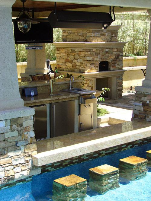 Pool bar home design ideas renovations photos for Pool design with swim up bar