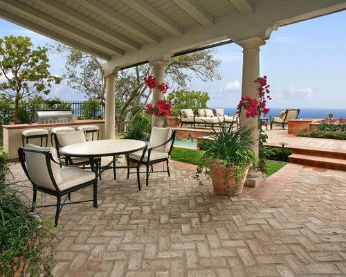 Herringbone Brick Patio | Houzz on Houzz Backyard Patios id=42452