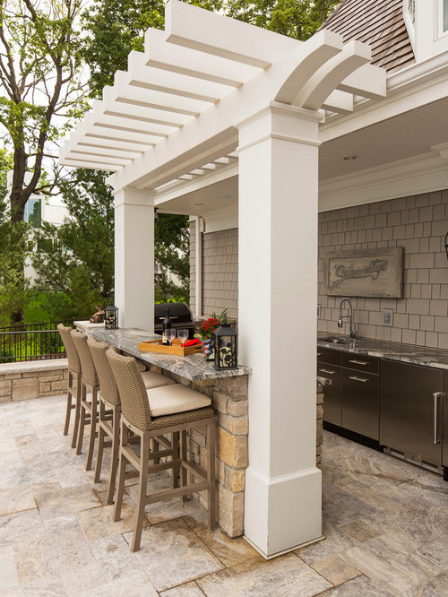 Patio Kitchen   Large Traditional Backyard Patio Kitchen Idea In  Minneapolis With A Pergola