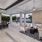 Modern Patio Design With Rectangular Outdoor Fireplace