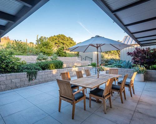 Perfect Inspiration For A Farmhouse Courtyard Concrete Paver Patio Container Garden  Remodel In San Luis Obispo