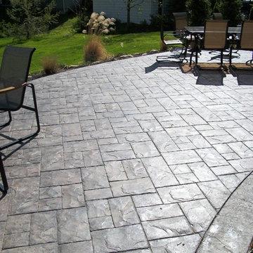 Ashler slate stamped concrete patio