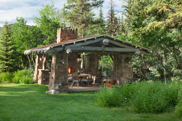 Rustic Patio by North Fork Builders of Montana, Inc.