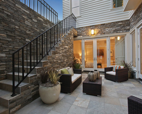Walk out basement patio houzz for Walkout basement backyard ideas