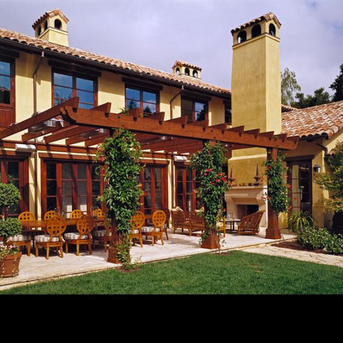 pergola attached to house houzz. Black Bedroom Furniture Sets. Home Design Ideas