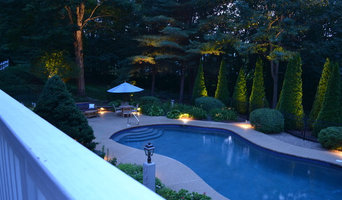 back yard pool just before dusk