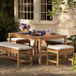 Oxford Garden - Backless Bench Dining Set - The Backless Bench Dining Set combines the Oxford Garden Hampton Dining Table with the Oxford Garden Backless Benches, creating a unique twist to the traditional picnic table. Choose from various bench and table sizes to create a dining area unique to your space. Cushions sold separately.