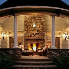 Traditional Patio backporch with fireplace