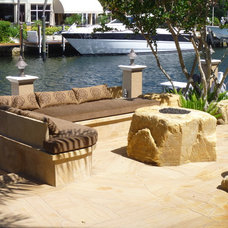 Contemporary Patio by Waterfalls Fountains & Gardens