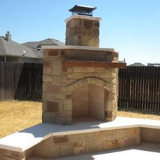Traditional Patio Backyard Fireplace