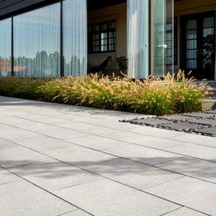 Foto di un patio o portico eclettico dietro casa con pavimentazioni in cemento