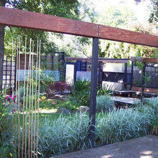 Eclectic Patio Backyard oasis using all recycled materials