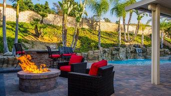 Backyard Pool Deck - Spa Steps – BBQ - Fire Pit Gathering Area - VIEW 1