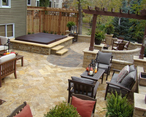 Elegant Hot Tub Pavers Houzz Traditional Patio Idea In Minneapolis. Stone Patios  With Hot Tubs.