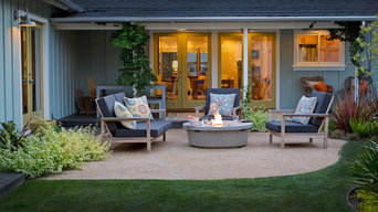 Backyard seating area with fire pit and lush planting