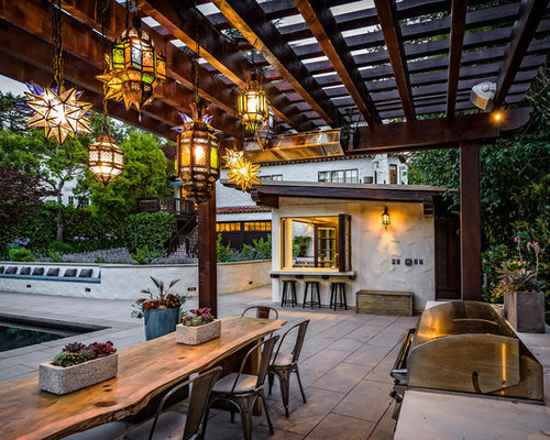 Patio Kitchen   Mediterranean Backyard Patio Kitchen Idea In San Francisco  With A Pergola