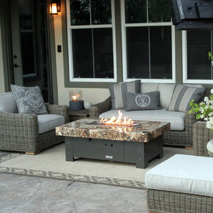 Inspiration for a small eclectic backyard patio remodel in Orange County
