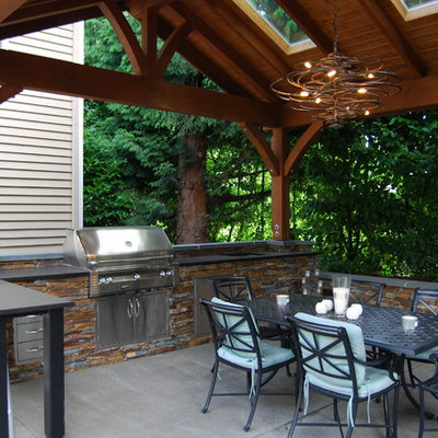 Inspiration for a timeless patio kitchen remodel in Seattle with a gazebo