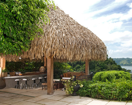 Thatched Roof Tiki Bar on patio design ideas pictures tile