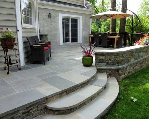 Raised Stone Patio U0026 Grill Area, Curved Steps, Walls, Stone Caps