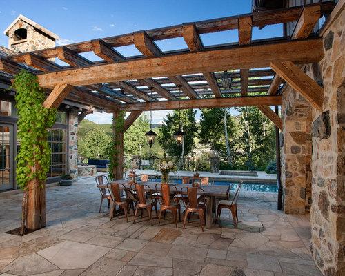 rustic patio design ideas renovations photos with a pergola. Black Bedroom Furniture Sets. Home Design Ideas