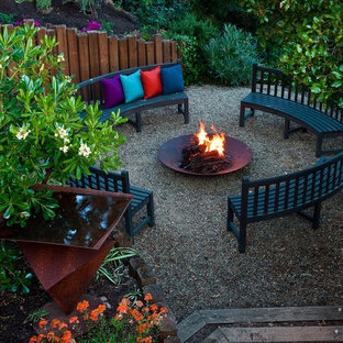 Patio - large contemporary backyard gravel patio idea in San Francisco