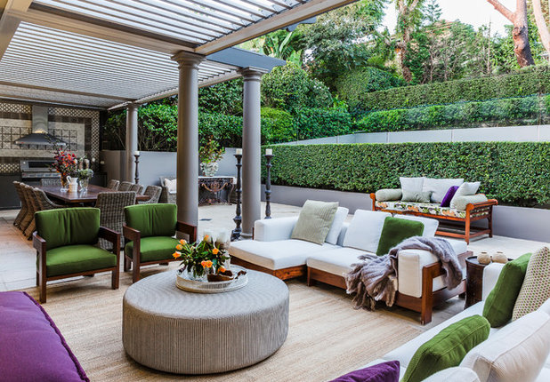 Traditional Courtyard by Marylou Sobel Interior Design