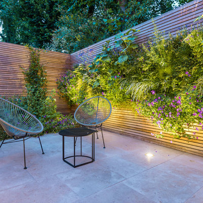 Inspiration for a contemporary backyard patio vertical garden remodel in London with no cover