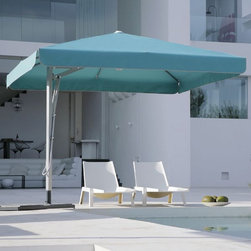 Belvedere Square Offset Outdoor Umbrella - Belvedere offset outdoor patio umbrella with a valance style canopy.