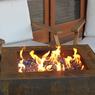 """Fire Pits - Great for Fall and Winter - The Bentintoshape 30"""" Square Fire Pit with a hidden tank is constructed with 11 Gauge Cor-Ten Steel for maximum durability and rustic antique appearance. Cor-Ten, also known as Weathering Steel, is a steel alloy which was developed to eliminate the need for painting and form a stable rust-like appearance when exposed to the weather. This fire pit is perfect for a small patio, a day at the beach or a weekend at the hunting camp."""
