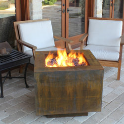 "Fire Pits - Great for Fall and Winter - The Bentintoshape 30"" Square Fire Pit with a hidden tank is constructed with 11 Gauge Cor-Ten Steel for maximum durability and rustic antique appearance. Cor-Ten, also known as Weathering Steel, is a steel alloy which was developed to eliminate the need for painting and form a stable rust-like appearance when exposed to the weather. This fire pit is perfect for a small patio, a day at the beach or a weekend at the hunting camp."