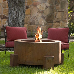 """Fire Pits - Great for Fall and Winter - The Bentintoshape 38"""" Round Fire Pit is constructed with 11 Gauge Cor-Ten Steel for maximum durability and rustic antique appearance. Cor-Ten, also known as Weathering Steel, is a steel alloy which was developed to eliminate the need for painting and form a stable rust-like appearance when exposed to the weather. The overall dimensions of the fire pit are 38"""" round x 20"""" tall. The bowl dimensions are 28"""" round x 14"""" deep. The fire pit has a clean out vent at the bottom of the bowl."""