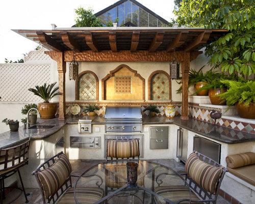 Mediterranean Patio Kitchen Idea In Los Angeles With A Pergola