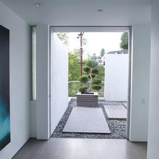 Imagen de patio actual, de tamaño medio, sin cubierta, en patio trasero, con jardín de macetas y gravilla