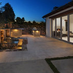 Outdoor Patio Cover With Stone Fireplace