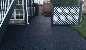 Black with grey fleck rubber patio