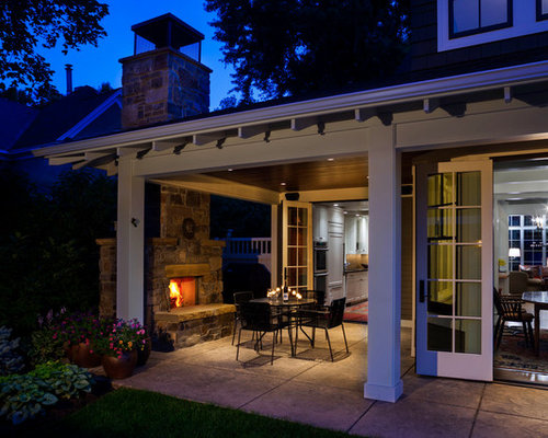 Free standing outdoor fireplace home design ideas for Covered porch with fireplace