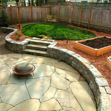 Patio by beautiful bones and purple stones
