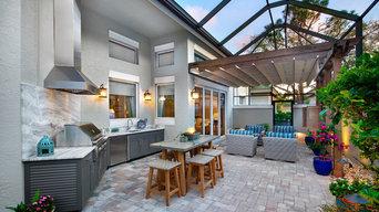 Bonita Bay FL Outdoor Kitchen and Living Space